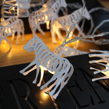 10pcs LEDs1.6M Battery Operated LED rose metal zebra horse Lights String for Holiday Party Decoration(China)