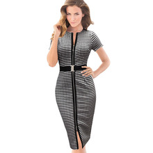 free shipping 2016 New Womens Belted Front Zipper Tartan Work Business Casual Tunic Pencil Bodycon Dress