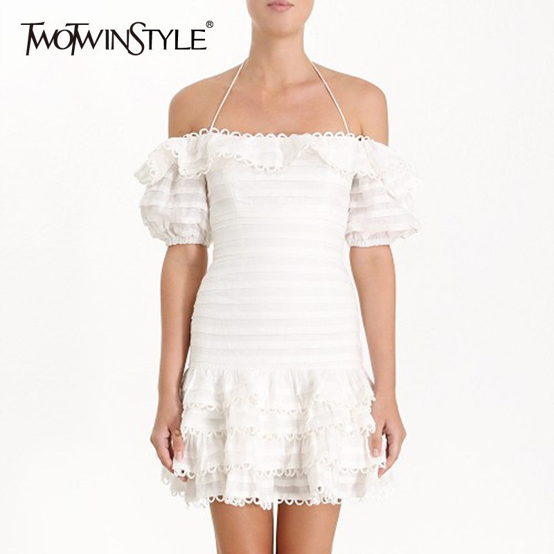 TWOTWINSTYLE Summer Sexy White Women Dress Off Shoulder Slash Neck Puff Sleeve Hollow Out High Waist