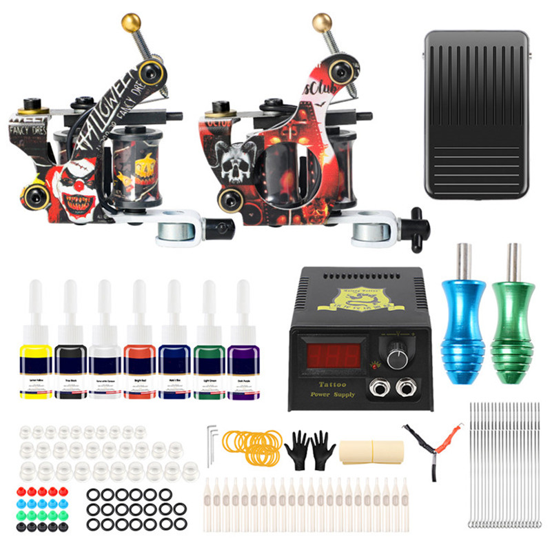 Complete Tattoo Kit 2 Professional Coil Tattoo Machine Gun Beginner Tattoo Kit 7 Color Inks Power Supply Foot Pedal For Body Art hugo v the last day of a condemned man