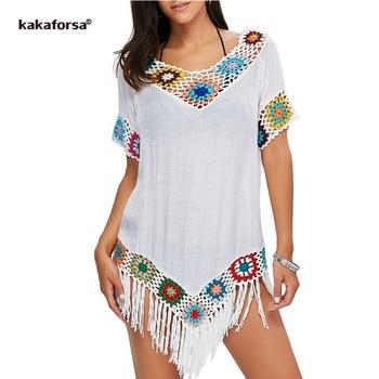 37d09185d3 Kakaforsa 2019 Sexy Crochet Beach Cover Up Tassel verano playa vestido  algodón tejido traje de baño Bikini cubrir saida de praia