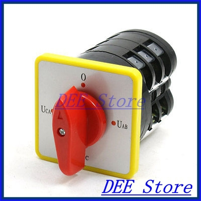 Industry Machine Control AC 500V 16A 4 Position Rotary Cam Changeover Switch Red ac 500v 16a panel mount 4 positions rotary cam changeover switch