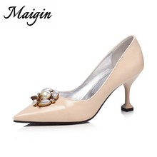 1756417666684a Maigin String Bead Women Pumps 2018 Super Pearl High Heels Shoes For Women  Sexy Pointed Toe