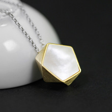 China Original Design Geometric polygon Northern Europe Style Unique White seashells Pendant Necklace silver 925 jewelry