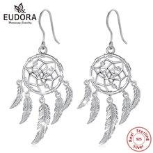 Юдора 925 пробы серебряные серьги «Ловец снов» Серьги-капли с кольцо с фианитом ювелирные украшения для Для женщин E100