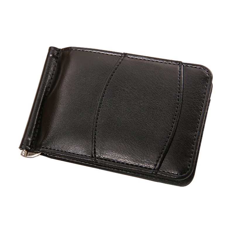 New Arrival Brand Slim Men's Leather Money Clip Wallet With Card Slots Metal Man Cash Clamp Portable Purse For Male