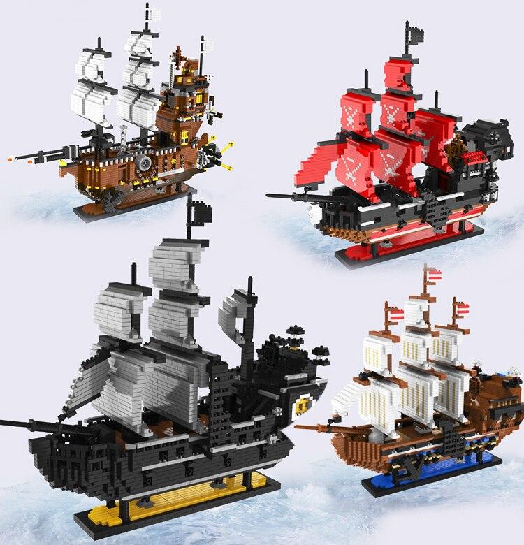 Mise à niveau d'une pièce noir perle Pirate bateau diamant marine blocs bâtiment assembler enfants jouet brique Luffy reine bateau