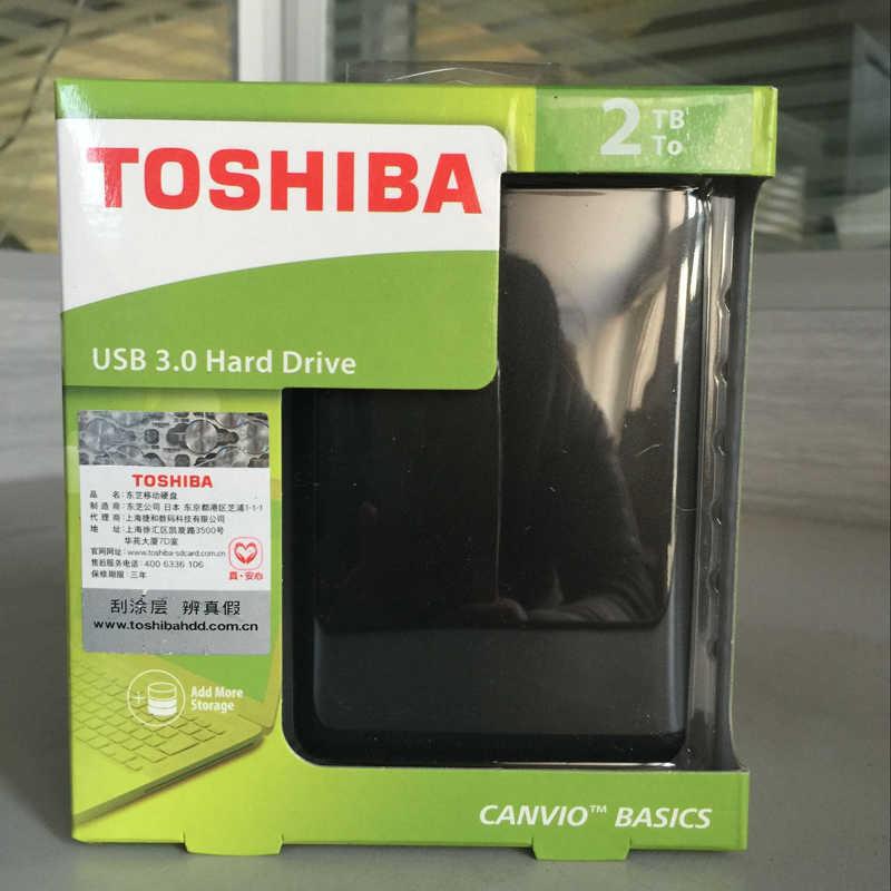 """TOSHIBA 2 TB Hard Disk Esterno Disk CANVIO BASICS 2000 GB HDD Portatile 2000G HD USB 3.0 da 2.5"""" SATA3 Nero ABS Custodia Originale Nuovo"""