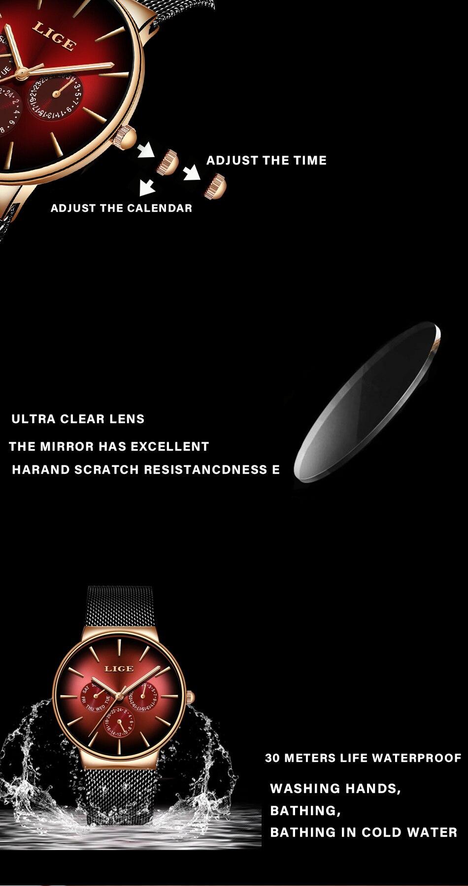 2019 LIGE Casual Thin Mesh Belt Fashion Quartz Gold Watch Mens Watches Top Brand Luxury Sport Waterproof Clock Relogio Masculino