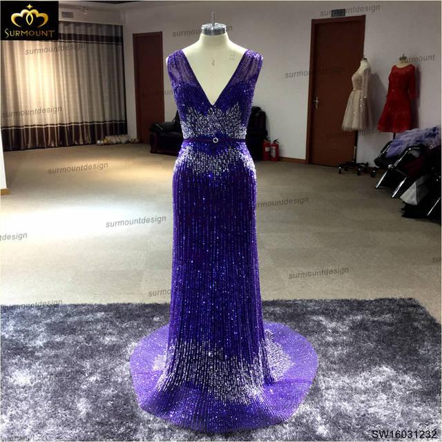 Sexy Abendkleid friesen 2016 Luxus Design Surmount Sequin Tüll Lila ...
