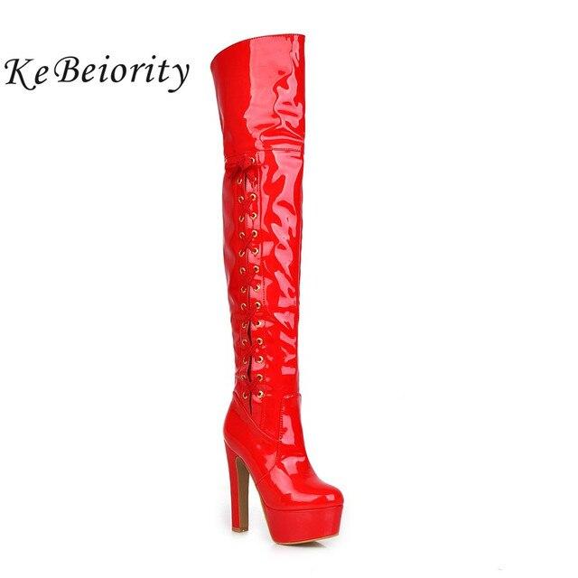 KEBEIORITY Rouge Noir Cuisse Haute Bottes pour Femmes Lace Up En Cuir verni  Sur Genou Sexy