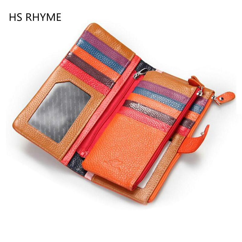 HS RHYME Women Wallets Brand Design High Quality Genuine Leather Wallet Female Hasp Fashion Dollar Price Long Women Wallet contact s women wallets brand design high quality genuine leather wallet female hasp fashion dollar price long purse card holder