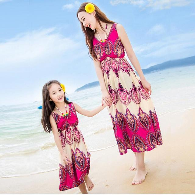 2017 new  mother daughter dresses summer style family matching clothes women red sleeveless maxi dress kids dresses for girls