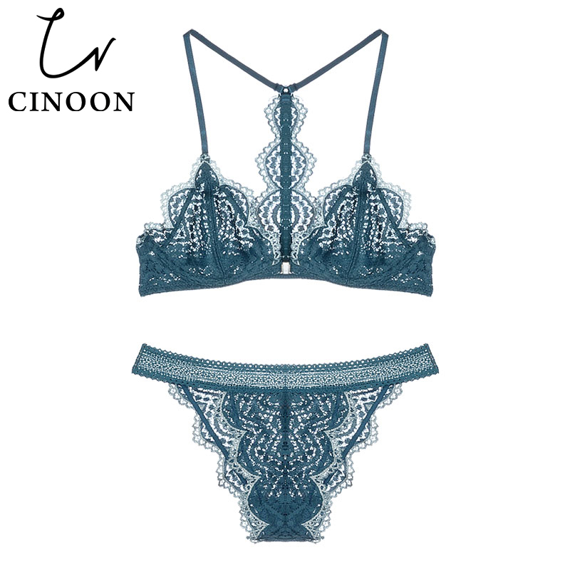 CINOON Sexy Lace Lingerie female front buckle ultra-thin bra panty set beauty back brassiere underwear Fashion intimates