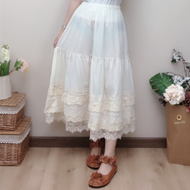 Mori Girl Multi Layer Lace Casual Skirt For Women Vintage Style Fairy Lace Embroidery Pleated Underskirt