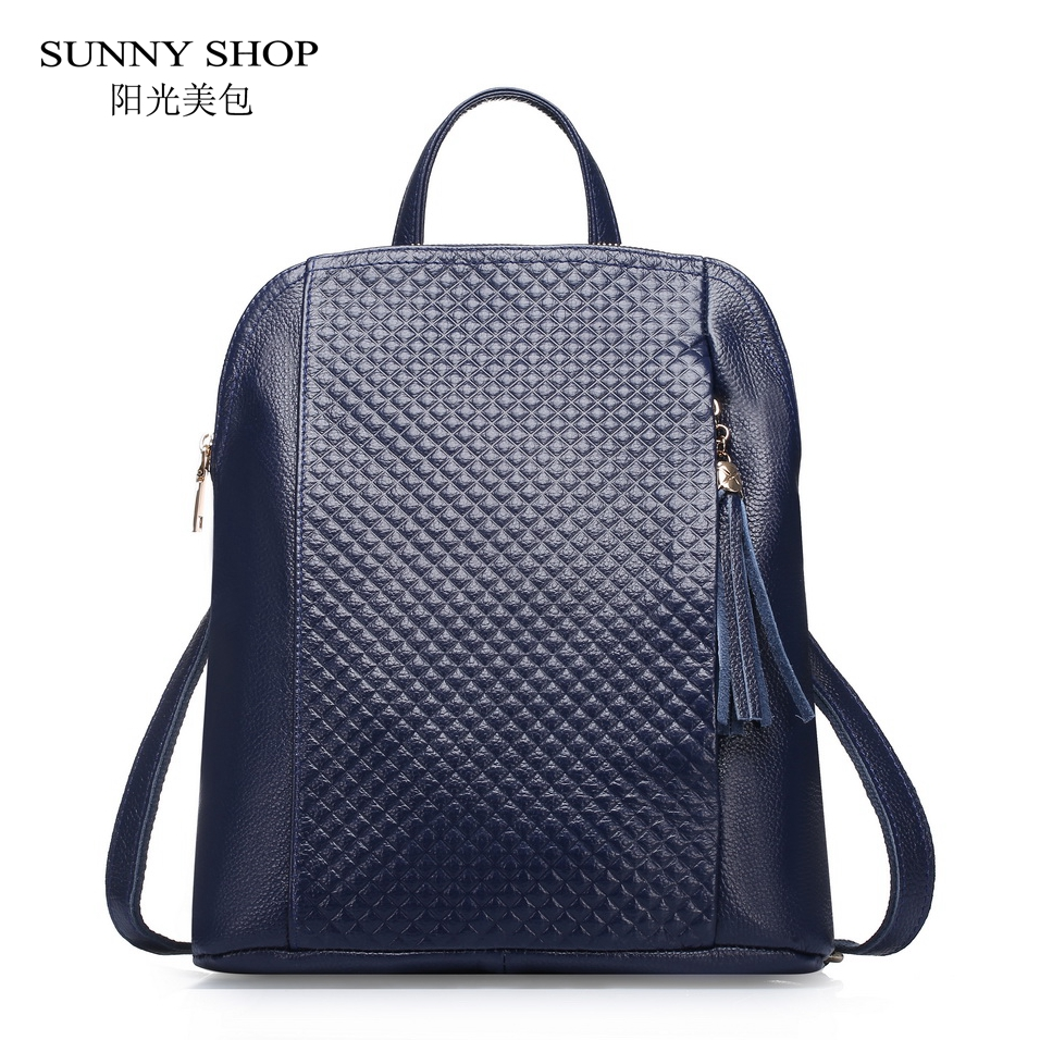 SUNNY SHOP Luxury 100 Genuine Leather Backpack Women 2018 Fashion Plaid Female Cow Leather Backpack With