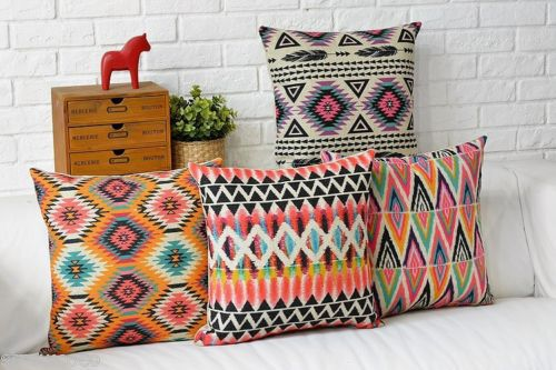 Aztec Geometric Cushion Cover Abstract Linen Cotton Throw