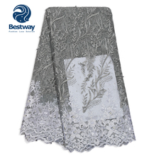 Bestway French Net Lace Fabric 3D Flower African Tulle Mesh High Quality  With Rhinestones Laces