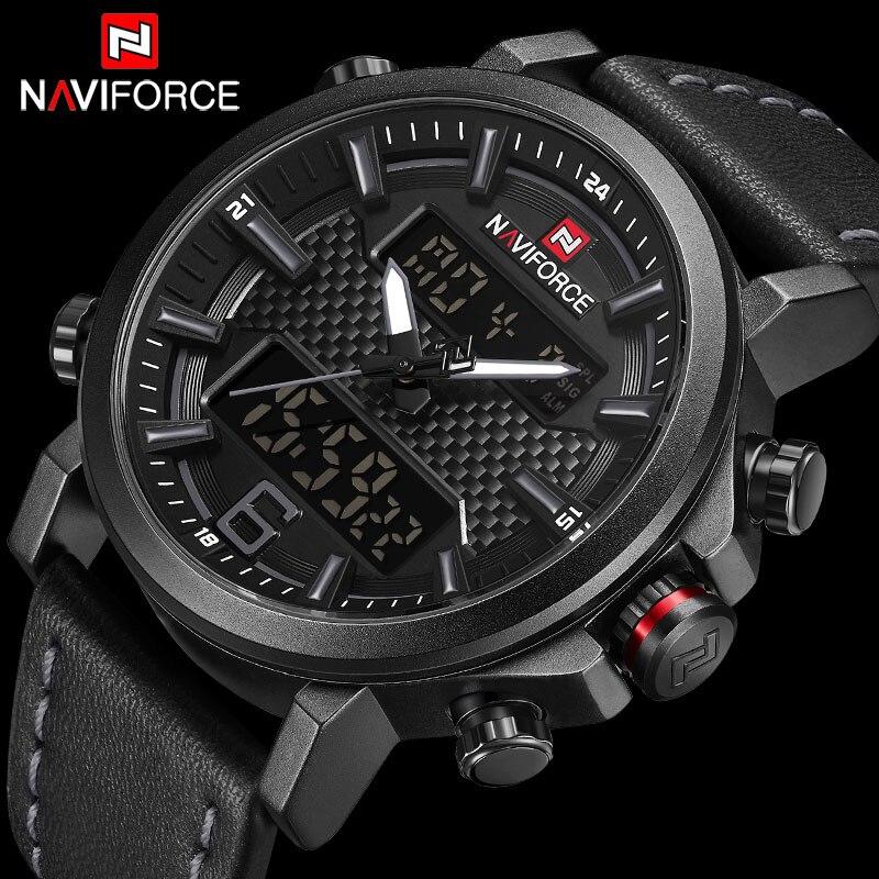 0dce58470f53 NAVIFORCE superior de la marca de lujo de cuarzo militar para hombre  relojes LED fecha Digital analógico reloj de los hombres de moda deporte  reloj Relogio ...