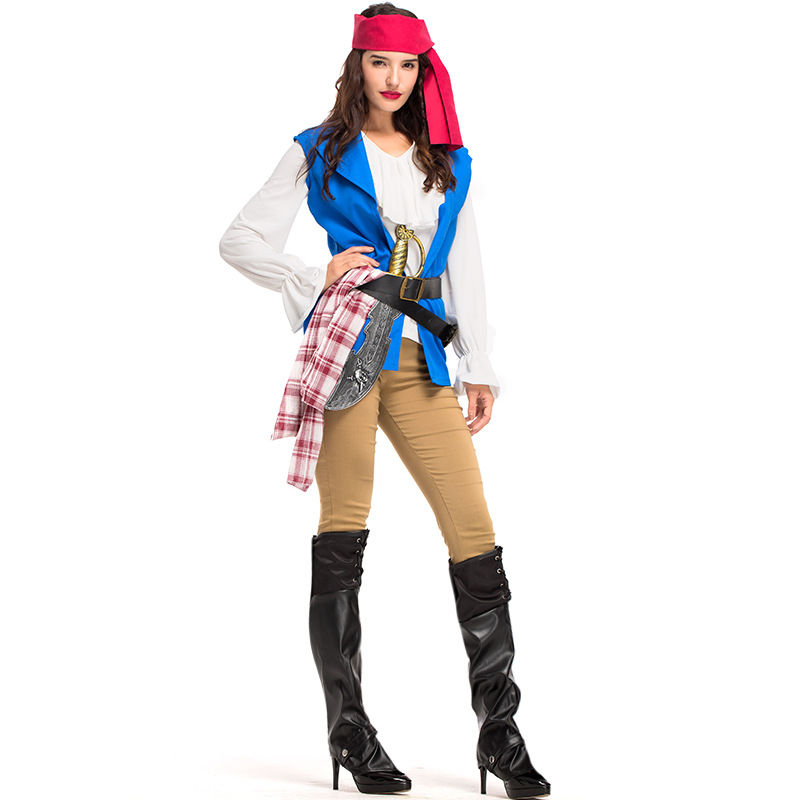 Captain Pirates Caribbean Jack Sparrow Pirate fantasia Adult Fancy Dress Carnival Halloween Cosplay Costume Women Outfit