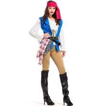 Piratas del Caribe capitán Jack Sparrow pirata fantasía disfraces para  adultos de Carnaval Halloween Cosplay traje de las mujere. aaa5796cbdc