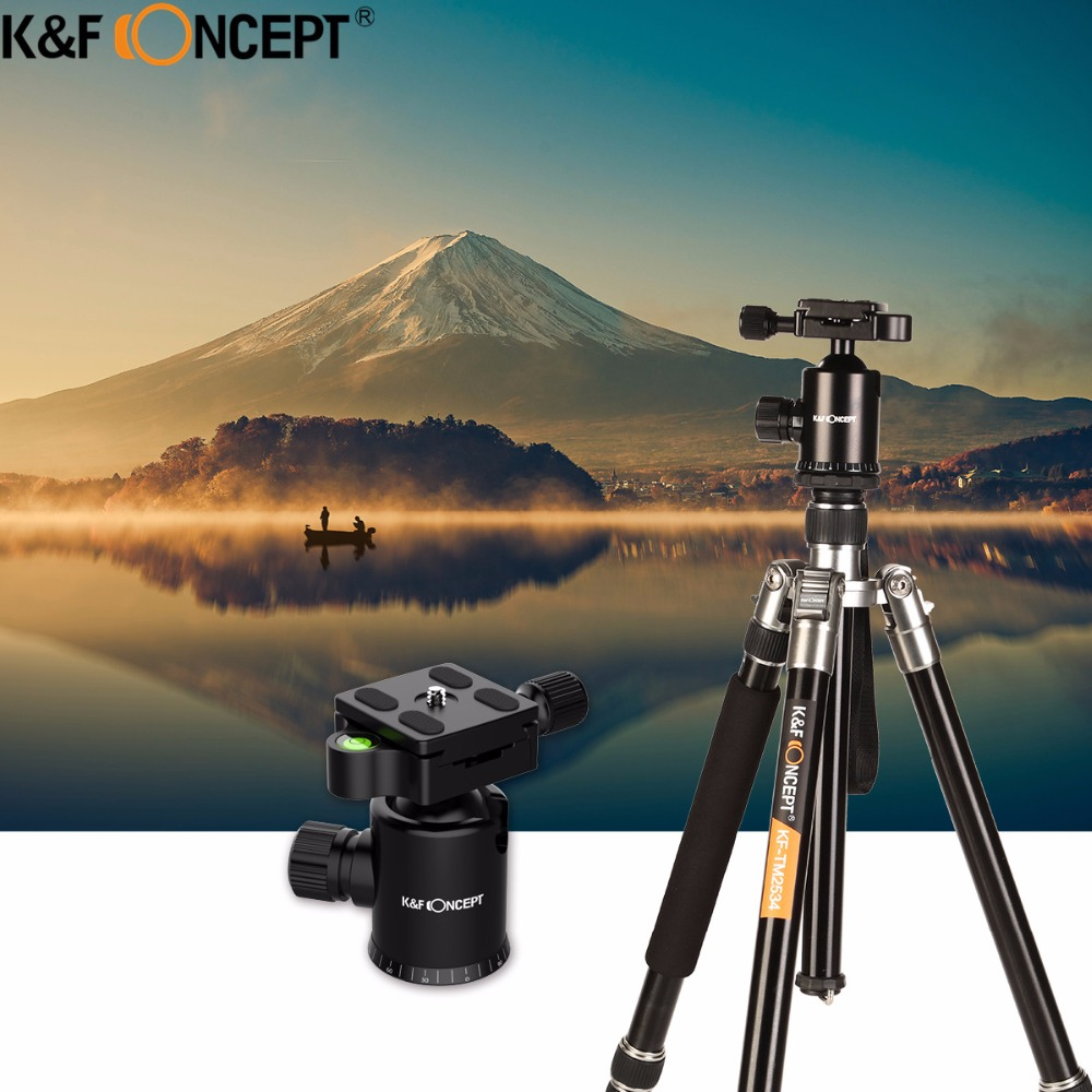 K&F CONCEPT Professional Portable Magnesium Aluminum Alloy 4-Sections Camera Tripod to Monopod+Ball HeadFor DSLR SLR Camera zomei z888 portable stable magnesium alloy digital camera tripod monopod ball head for digital slr dslr camera