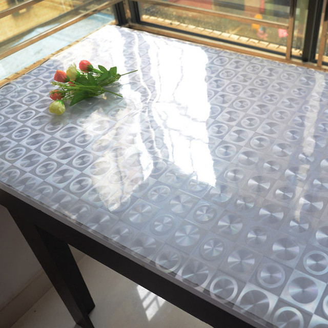 Soft Glass Table Cloth Pvc Disposable Waterproof Oil Transparent Crystal  Scrub Board Table Mats Dining Table Cloth