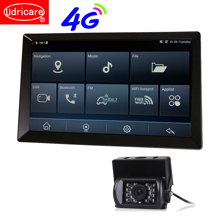 Udricare 10 inch 4G SIM Card Network Android 8.1 WiFi Bluetooth Phone Car Truck Bus GPS Navigation Full HD 1080P Dual Lens DVR(China)
