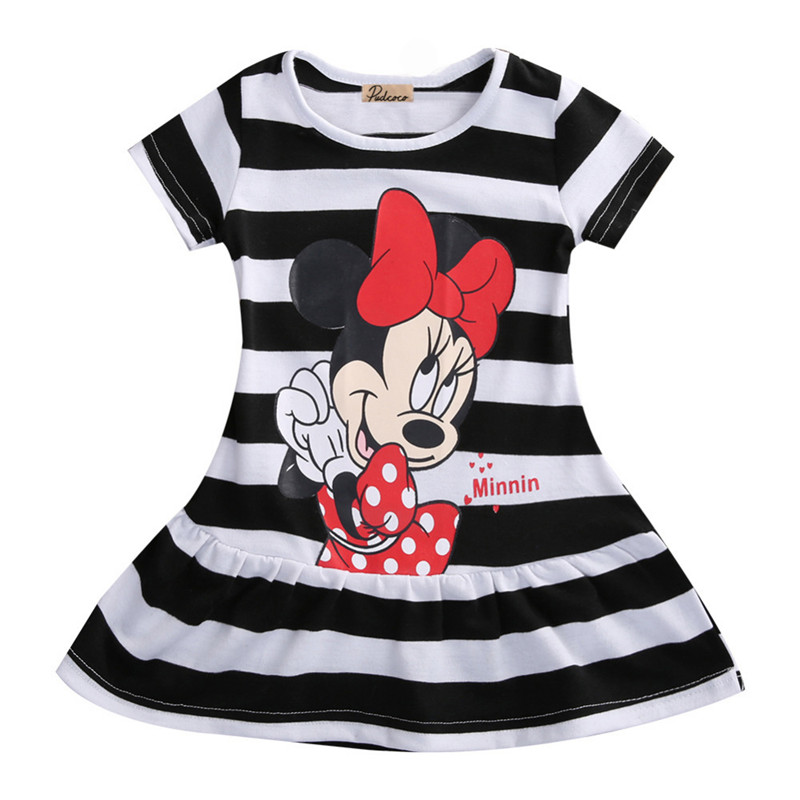 Cartoon Summer Girls Dress Minnie Mouse Dress Striped Short Sleeve Princess Dress Kids Dresses For Girls