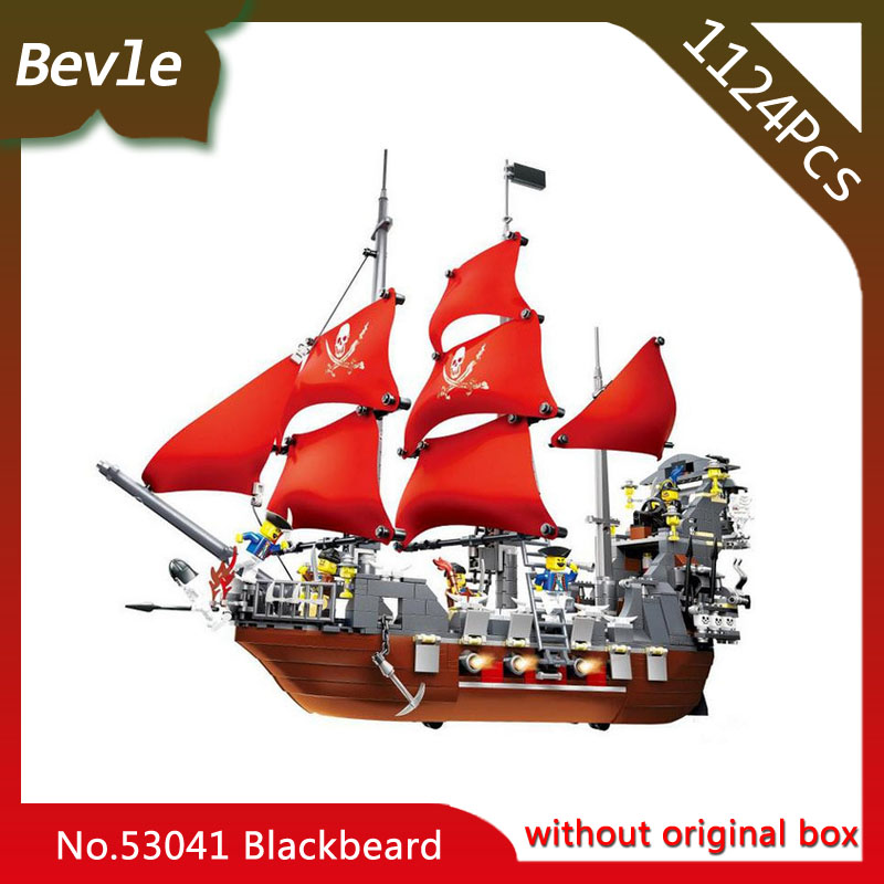 Bevle Store LEPIN 53041 1124Pcs Movie Series Pirate Ship Black Beard Building Blocks set Bricks For Children Toys Wange Gift lepin 16002 modular pirate ship metal beard s sea cow building block set bricks kits set toys compatible 70810