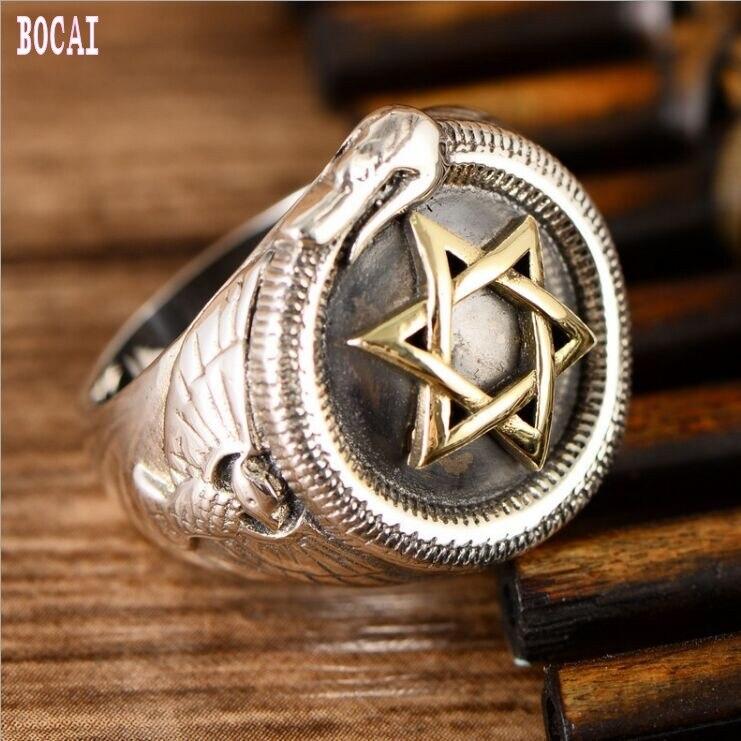 S925 bijoux en argent sterling étoile à six branches serpent anneau personnalité Thai bague en argent rétro mode homme anneau