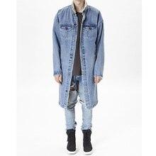 2017 New fashion men outfits stylish long coat clothing fleece winter denim jackets jean jacket Outerwear  Coats