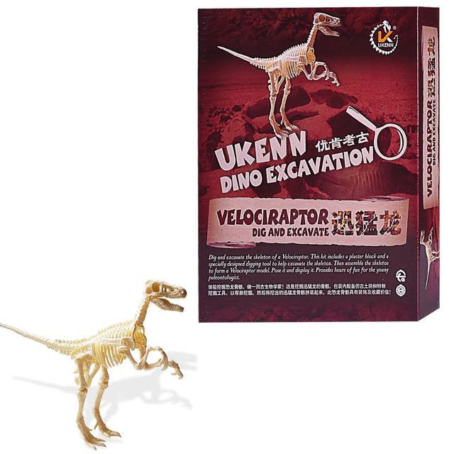 Velociraptor Dinosaurios Esqueleto Rompecabezas Clase Equipos de Excavación Cavar Juguetes Para Los Kits Modelo de Dinosaurio de Jurassic Park decoración