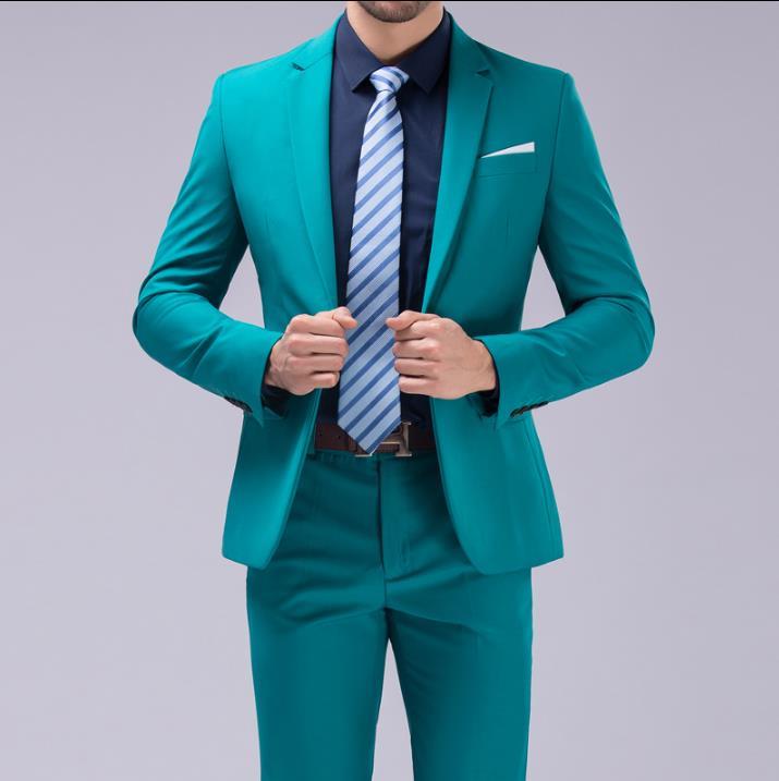 Пиджак мужчины торжественное платье самые последние модели брюк для костюма костюм мужчины яркие цвета TERNO из трех частей Брак Свадебные ко...