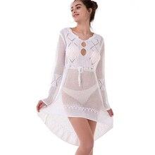 2019 New Women's Dress Knit Hollow Trumpet Sleeve Sun Blouse Summer Beach Bikini Swimming Sunscreen Blouse Dress Beachwear tiered trumpet sleeve pearl embellished blouse