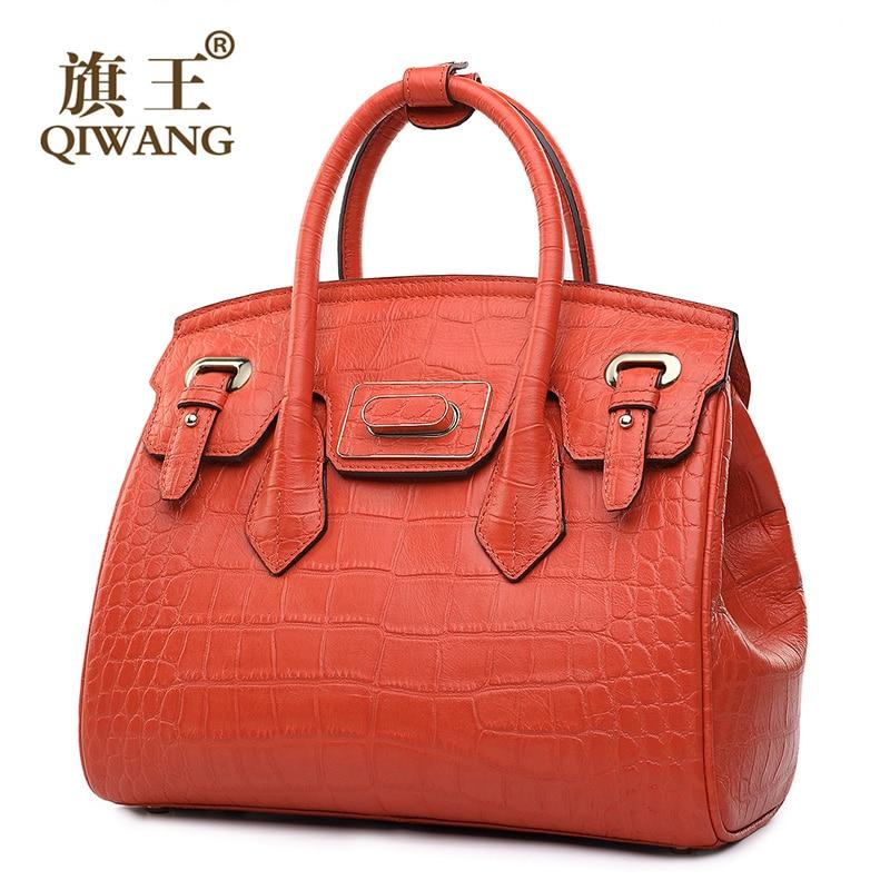 45824fb6d44 QIWANG Turn Lock Tote Dames tas Luxe Handtassen Vrouwen Tassen Designer  Handtas Fashion Famous Brand Oranje Tas in QIWANG Turn Lock Tote Dames tas  Luxe ...