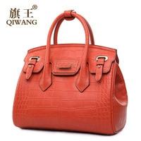 QIWANG Turn Lock Tote Ladies bag Luxury Handbags Women Bags Designer Handbag High Quality Fashion Famous Brand Orange Cross Bag