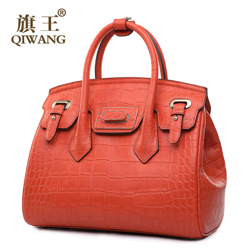 QIWANG Turn Lock Tote Luxury Handbags Women Bags Designer Handbag High Qaulty Fashion Famous Brand Orange Bag qiwang china brand handmade leather bag luxury handbags famous brand tassel women bags made in china flower tote bag purse