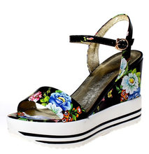 Black,white 2016 summer real printing leather platforms wedges sandals for women flower ethnic lady dress party wedding shoes