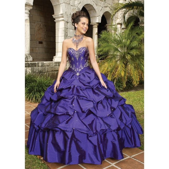 Online Shop Purple Ball Gown Sheer Neck Fuchsia And Black Lace