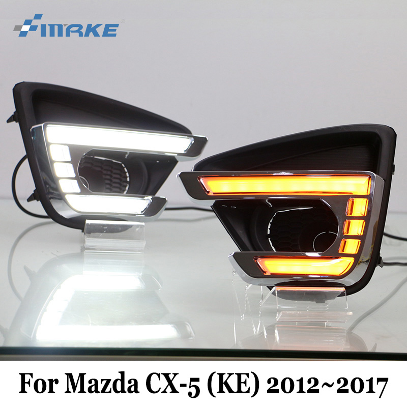 SMRKE DRL For Mazda CX-5 (KE) 2012~2017 / Two-colour Car Daytime Running Lights & Turn Signal Lamp / Car Styling Fog Light Frame