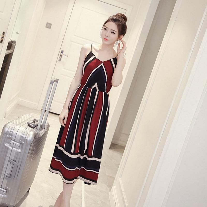 HTB1W157XInrK1RjSspkq6yuvXXaS Bigsweety New Fashion Women Sexy Boho Striped Dress Summer Maxi Long Dress Sleeveless Beach Strap Sundress Vestidos For Female