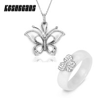 New Luxury Cubic Zirconia Butterfly Bridal Jewelry Sets Ceramic Necklace Ring Black White Rose Gold Crystal Rhinestone For Women(China)