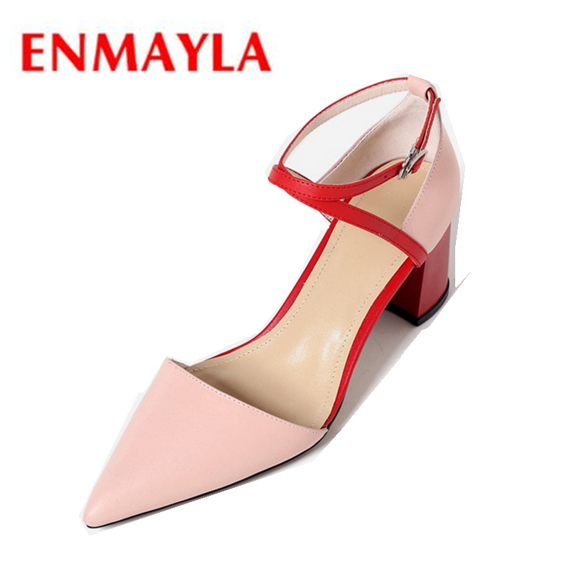 ENMAYLA 2018 Fashion Shoes High heels Shoes woman Pointed toe Elegant Square heel Pumps Women shoes Cross-tied Pointed toe CR243 facndinll women pumps fashion middle heels pointed toe shoes woman square toe shoes ladies offcie dress casual date woman pumps