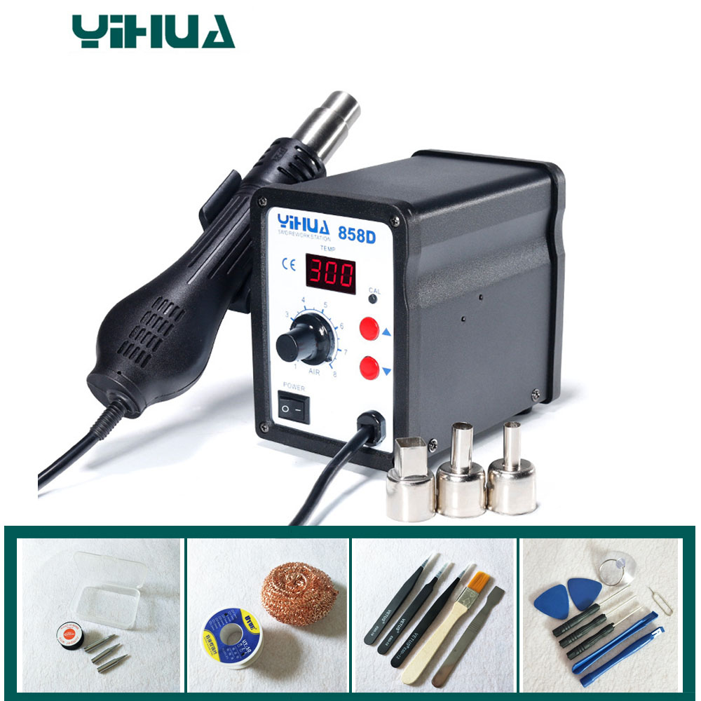 цена 220V Hot Air SMD Rework Station Heat G un SMT Solder soldering iron Welding Repair Tools YIHUA 858D в интернет-магазинах