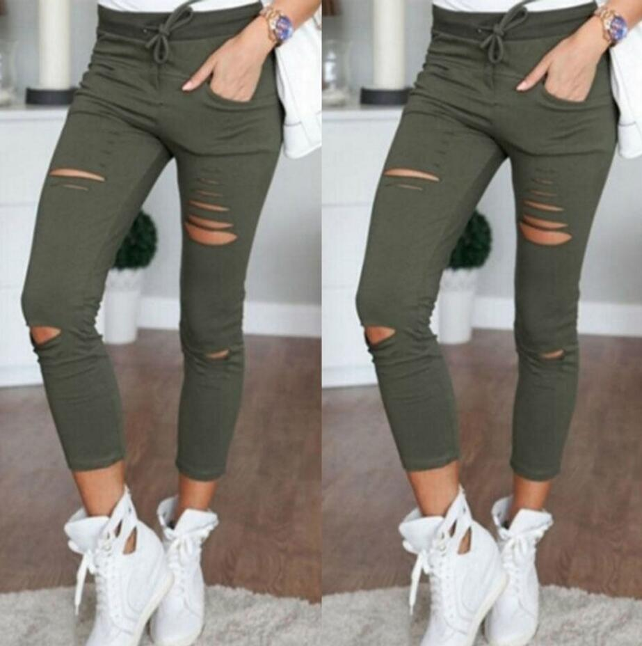 06cc14ac05 2018 Summer Skinny Jeans Women Denim Pants Holes Destroyed Knee Pencil  Pants Casual Trousers Black White Stretch Ripped Jeans-in Jeans from Women's  Clothing ...