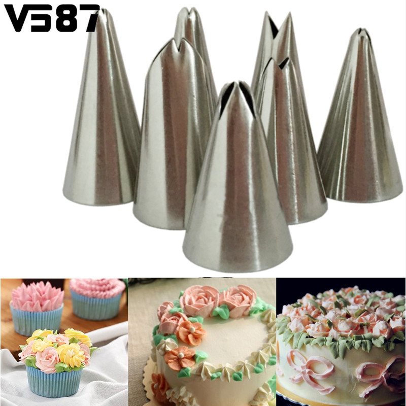 7pcs Lot Leaf Icing Piping Nozzles Cake Decorating Tips Set Home Kitchen Cake Cupcake Pastry