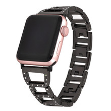 Applicable To For Apple Watch Stainless Steel Strap Applewatch Trapezoidal Diamond Metal Iwatch