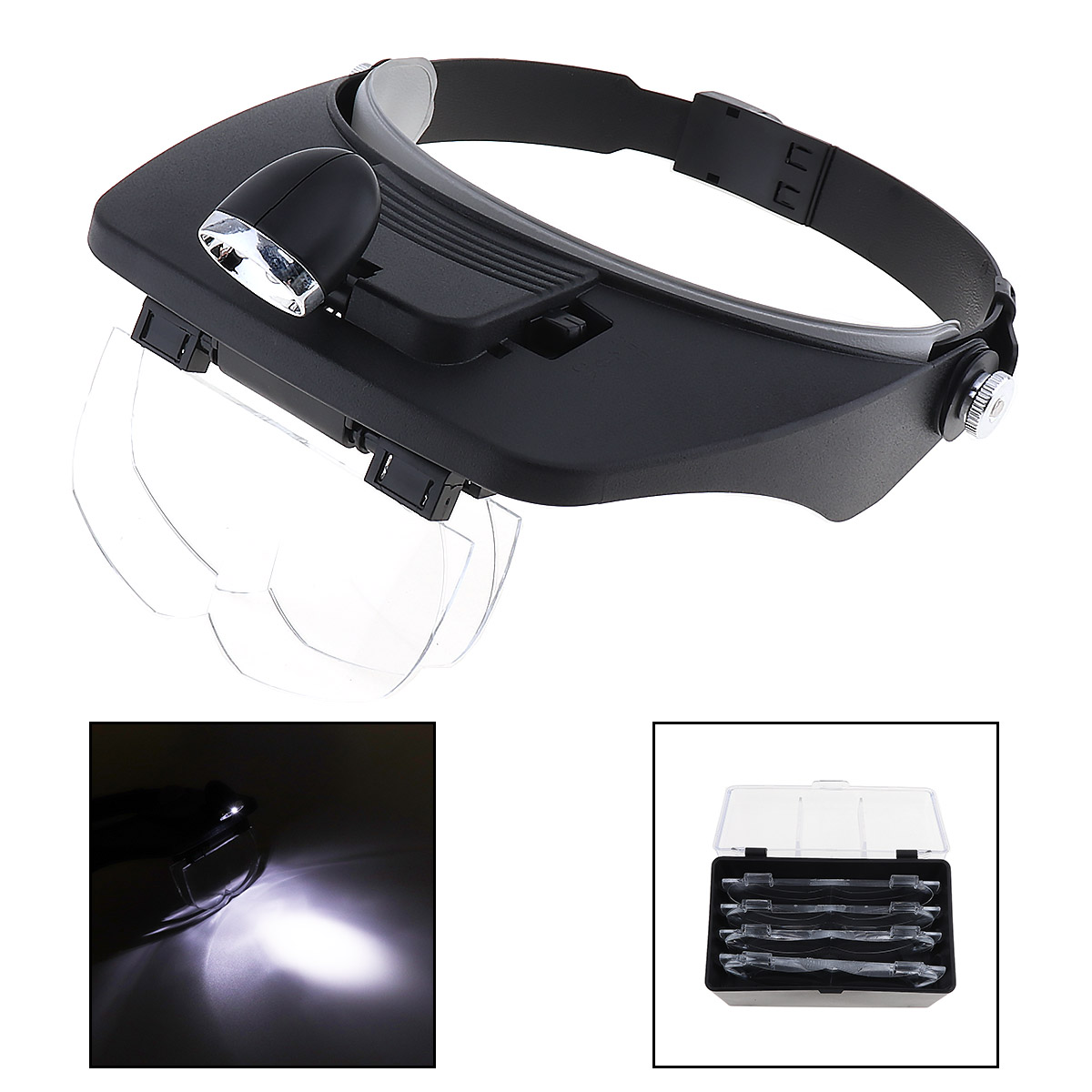 Head Magnifying Glasses with LED 10 Power Magnifier for Reading Optivisor Magnifying Glass Loupes Jewelry Watch Repair 3 Lamp ...