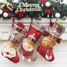 Hot newest Christmas Stocking and Tree Decorations  Hangings Santa Claus Snowman Candy Gift Bag